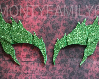 Poison Ivy Leaves Eyebrow Eye mask ELECTRIC Glitter GREEN Cosplay Comic Con Uma Thurman Elf Fairy