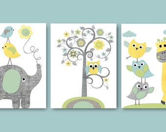 Neutral Nursery Prints Kids Art Owl decor Baby Nursery Art Nursery Wall Art Kids Room Decor set of 3 Elephant Nursery Tree Owl Blue Gray /