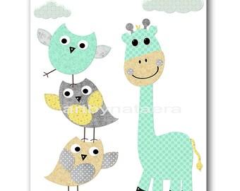 Baby Room Decor Giraffe Nursery Wall Decor Children Room Art kids Room Decor Baby Boy Room Decor Baby Boy Nursery Boy Print Gray Green