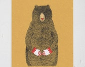 BEAR print - gocco screen print black, red and white gouache painted - limited edition
