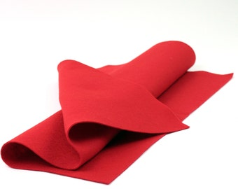"100 Percent Wool Felt Sheet  in Color RED - 18"" X 18"" Wool Felt Sheet - Merino Wool Felt - European Wool Felt"