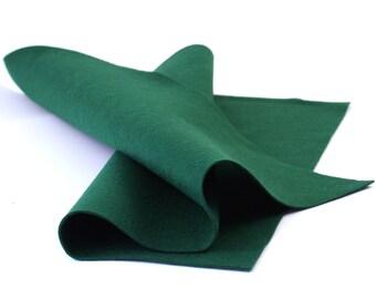 "100 Percent Wool Felt Sheet in Color HUNTER GREEN - 18"" X 18"" Wool Felt Sheet - Merino Wool Felt - Pure Wool Felt"
