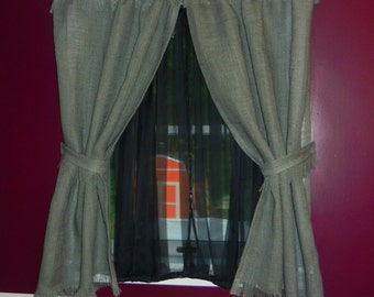 """Grey burlap curtains fringed. These curtains fit a 30""""WX60""""L window."""