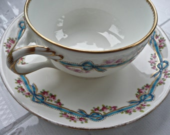 Antique Cup And Saucer - Minton Porcelain - English - Hand Painted with Enamel Pattern - Bows and Rose Garland Pattern - Cup and Saucer
