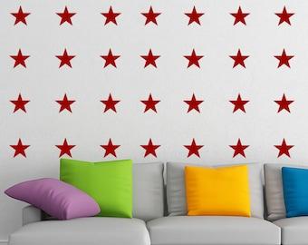 Wall art - 42 Stars Pattern vinyl wall decal / sticker / mural removable wallpaper decor