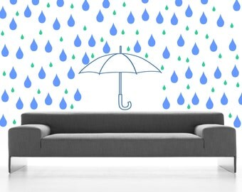Wall art - Raindrops and Umbrella Pattern vinyl wall decal / sticker removable wall decor