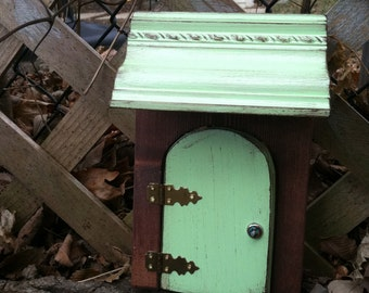 Fairy Door, that opens, green, distressed awning, Fairy garden, Housewarming gift, Garden, Outdoor, Indoor,