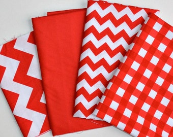 Remnant Bundle - Red White Chevron, solid, gingham - small medium - Riley Blake - 4 cuts - Scrap Pack - Destash