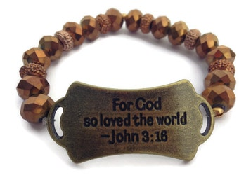 Ready to ship, Scripture Bracelet, John 3:16, God Bracelet, Christian Jewelry, Faith Jewelry,Limited edition,Sale