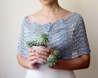 Crochet pattern scarf lacy caplet shrug shawl bride wedding circle scarf  infinity loop neckwarmer ripples waves Instant download