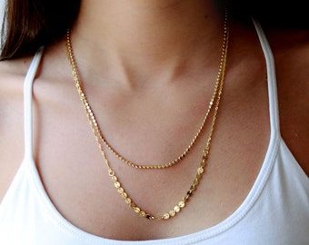 Double Layered gold necklace / layering jewelry / multi chain gold necklace / birthday gifts