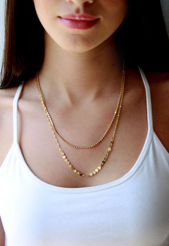 Double Layered gold necklace / layering jewelry / multi chain
