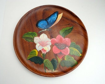 Vintage Wooden Plate Summer 1960s Hand Painted Butterfly Floral Costa Rica Souvenir