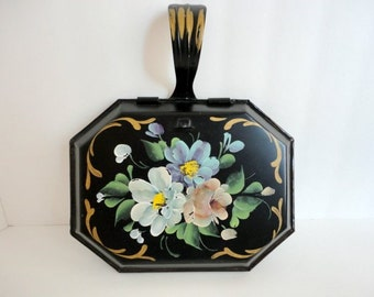 Vintage Metal Crumb Catcher Toleware Silent Butler Gift under 15 Black floral Tole painted 1940s