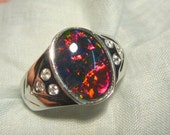 Mens Opal Ring  Sterling Silver, Lab Created 14x10mm Oval Triplet. item 70117.