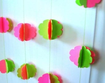 Pink Lime Green Paper Garland, Scallop Circles, Spheres, 3d, 11 ft, Wedding, Party, neon green, neon pink, hand made decoration