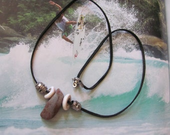 Beach Comber Necklace - Beach Rock Shells Beads Leather