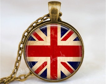 UNION JACK Necklace, Union Jack Jewelry, Union Jack Flag, United Kingdom, British Flag, Glass Photo Art Pendant