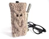 Gray Owl Glasses Case. Eyeglasses Case. Eyeglasses Holder. Sunglasses Case. Sunglasses Holder. Knit Reading Glasses Case.
