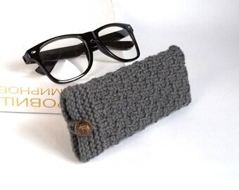 SALE - 50% OFF. Dark Gray Glasses Case, Grey Reading Glasses Cozy, Eyeglasses or Sunglasses Holder. Gift For Men.