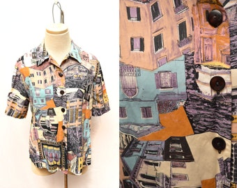 80s Streets of Italy Button Down Blouse Women's 8