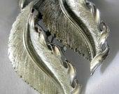 Brushed Silver Tone Double Leaf Brooch Pendant - Signed LISNER - Vintage