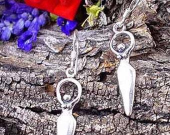 Sterling Silver Goddess Earrings, .925 Sterling Moon Goddess Earrings, Dangling Goddess Earrings, Wiccan Jewelry, Pagan Earrings, SE1478-FEW