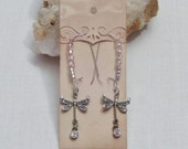 Dangling dragonfly earrings; Rhinestone jewelry; Handmade silver jewellery