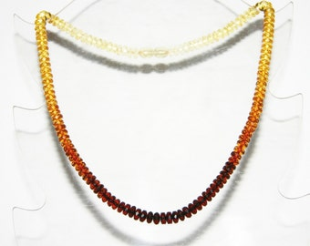 Baltic amber necklace, rainbow color faceted discs beads 76