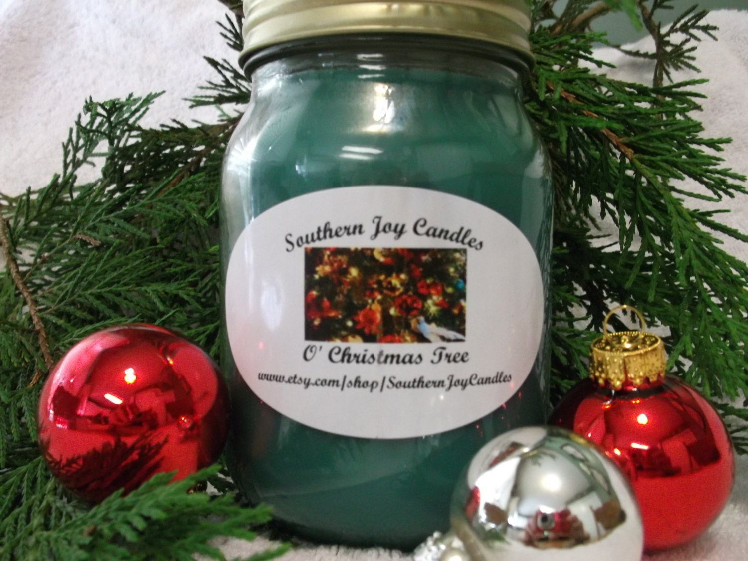 o u0026 39  christmas tree soy candle 16 oz jar highly scented