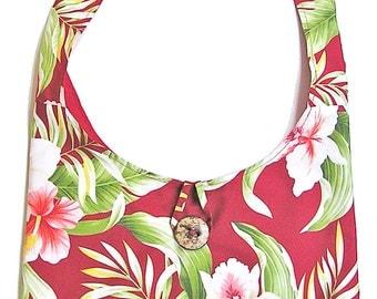1/2 OFF SALE Handmade in Hawaii Red Hawaiian Print Fully Lined Hobo Bag with Inside Pocket