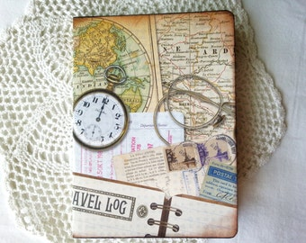 Travel log mini notebook or journal with map etc printed paper
