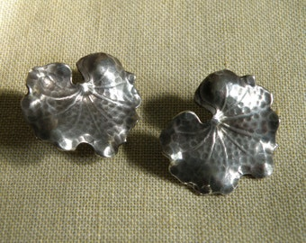 Art Nouveau Sterling Silver Lily Pad Earrings