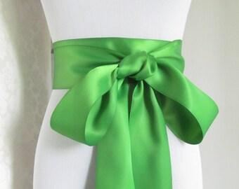Kiwi Green Satin Ribbon Sash / Ribbon Sash / Satin Bridal Sash /  bridesmaid Sash /