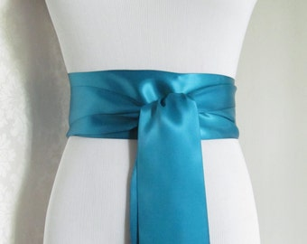 Dark Turquoise Satin Ribbon Sash / Ribbon Sash / Satin Bridal Sash /  Bridesmaid Sash / Deep Turquoise
