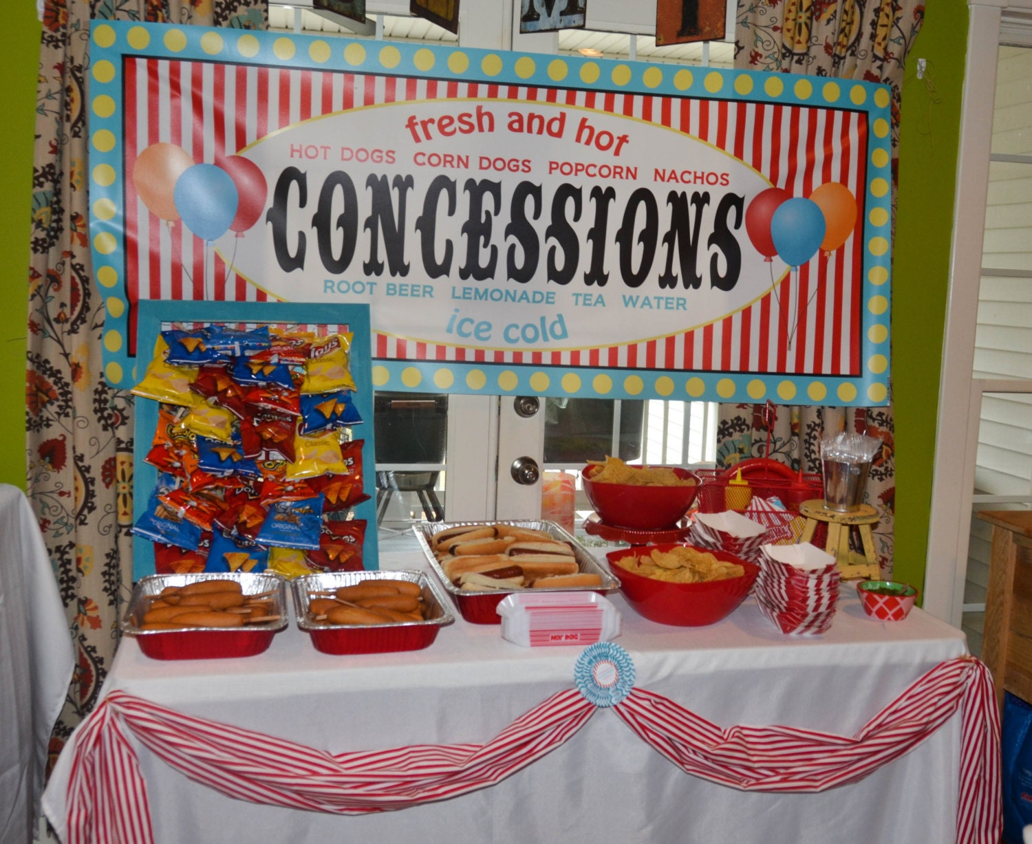 Carnival circus concessions banner food table sign girl boy - Carnival party menu ...