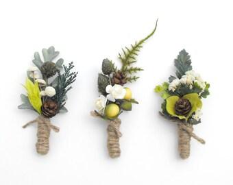 WOODLAND WEDDING BOUTONNIERE-Winter Wedding-Mens Lapel Pin-Spring Wedding Lapel Pin-Forest Wedding-Moss Wedding-Woodsy Wedding