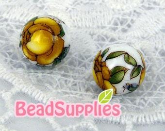 BE-TS-01026- Japanese Tensha Beads, White beads with yellow rose, 2 pcs