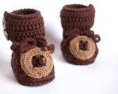 Baby Crochet booties, Warm Shoes, baby boy gift, Made to Order