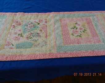 EXTREME PRICE  Mark Down!    Pink Roses Quilted Table Runner - Handmade