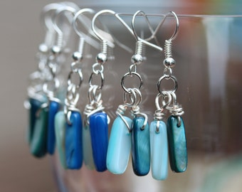 Wire-wrapped Earrings, stone-drop, ocean-coloured