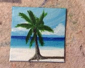 Caribbean Palm and Blue Water Tiny Original Painting