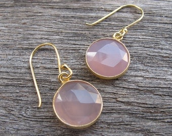 Round Faceted Pink Earring- Rose Quartz Dangle Earrings- Pink Drop Earring- Pink Quartz Earring- Pink Topaz Earring-Bridesmaids Earring