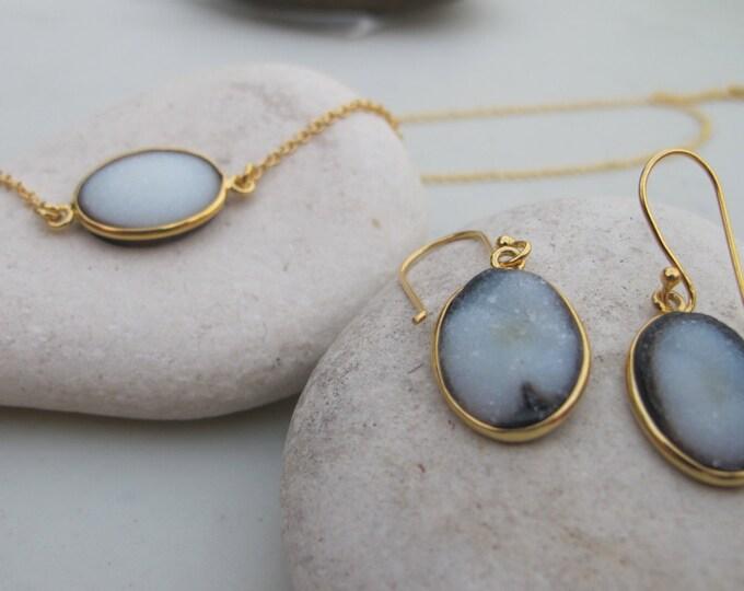 Druzy Necklace Earring Set- Oval Druzy Jewelry Set- Black Halo White Stone Earring Necklace- Unique Druzy Jewelry Set