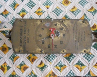 Brass Front Forschner's Vintage Circular Milk Scale from the 1920's, 60 Pound Scale, Made in New York City