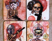 Star Wars Coaster Set - Day of the Dead style - Awesome quality - Hard with cork bottom