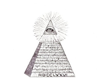 "Dollar Bill Pyramid art print of an drawing available 5x7"" or 8x10"""