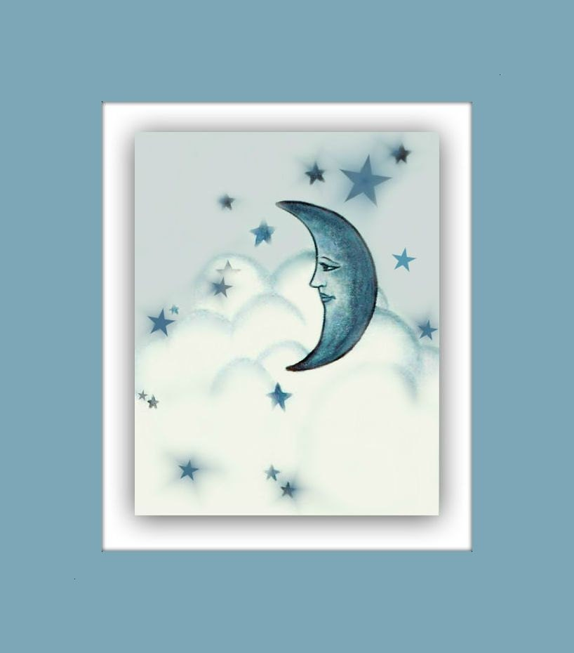 Moon stars wall art boy nursery decor boys room by for Boys wall art