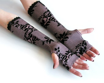 Elegant gloves  with vintage floral pattern  and black lace -  Arm Warmers pink polka dots  Yoga Gothic Dark victorian retro lace flower