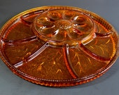 Mid Century Amber Glass Deviled Egg and Relish Tray - Very Thick Heavy Indiana Glass - Patterned Amber Glass - Glass Party Tray